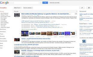 La nouvelle version de Google Actualités, mise en ligne le 28 octobre 2011.