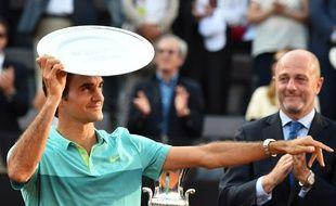 Roger Federer après sa défaite en finale contre Novak Djokovic, le 17 mai 2015.
