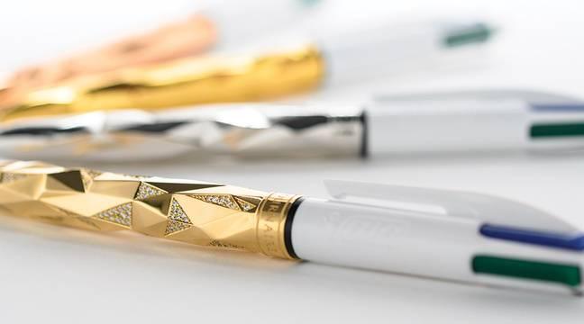 Loire : Un joaillier lance des stylos Bic quatre couleurs sertis d'or et de diamants