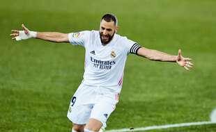 Karim Benzema, ici  samedi lors du dernier match du Real Madrid à Alaves, où il a inscrit un doublé.