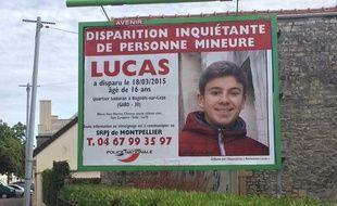 Un des panneaux publicitaires pour retrouver Lucas.