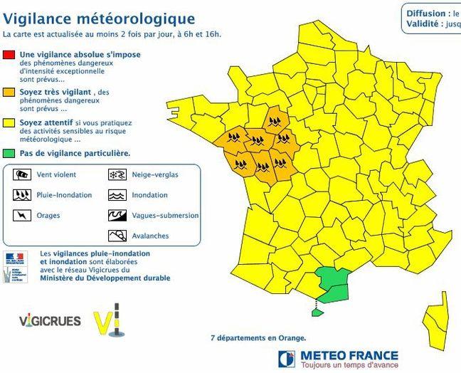 La carte de vigilance de Météo France pour le 29 mai 2016.