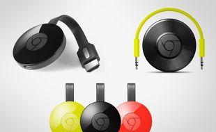 La famille Chromecast s'agrandit, avec la version vidéo (gauche) et audio (droite).
