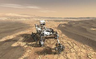 Vue d'artiste du robot Curiosity en train de forer le sol martien.