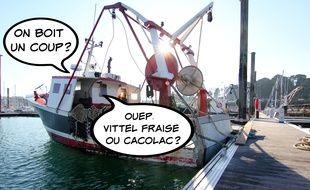 Illustration d'un bateau de pêche amarré au ponton du port de Saint-Malo.