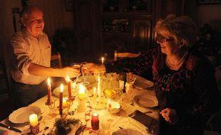 Réveillon à la bougie pour Christian et Marie-Thérèse le 24 décembre 2013 à Guengat en Bretagne.