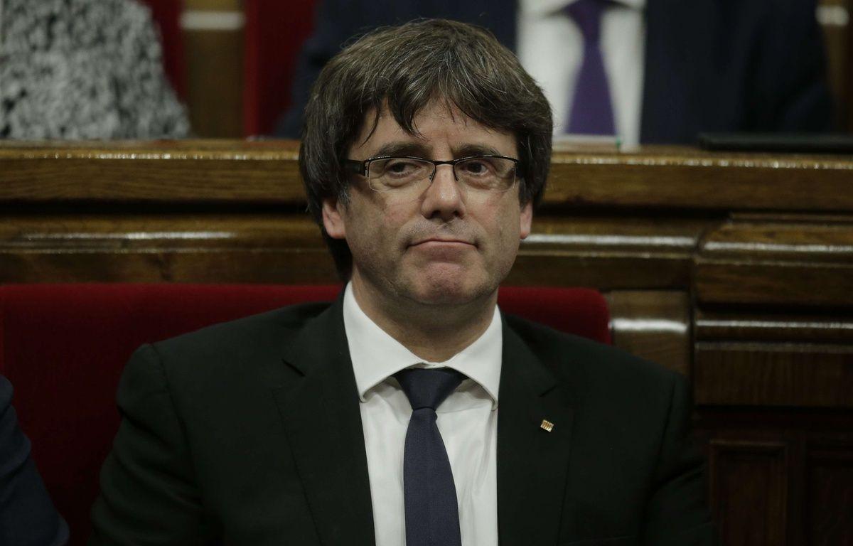 Le président séparatiste catalan Carles Puigdemont, le 10 octobre 2017 au Parlement. – Manu Fernandez/AP/SIPA