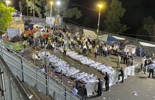 Les victimes décédées lors d'un pèlerinage au mont Méron dans le nord d'Israël, vendredi 30 avril 2021.