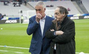 Didier Deschamps et Noël Le Graët lors du match amical France-Russie, le 29 mars 2016 au Stade de France.