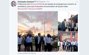 Sur son compte Twitter, Christophe Castaner affiche son soutien pour Lénaïck Adam et fait campagne à ses côtés pour la législative partielle en Guyane.