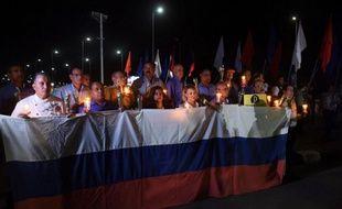 Une marche organisée pour le premier anniversaire du crash de l'avion russe  dans la mer Rouge près de Charm el-Cheikh après l'explosion d'une bombe à bord.