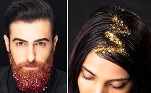 Glitter Roots  et Glitter Beards réalisés par Make Up For Ever.