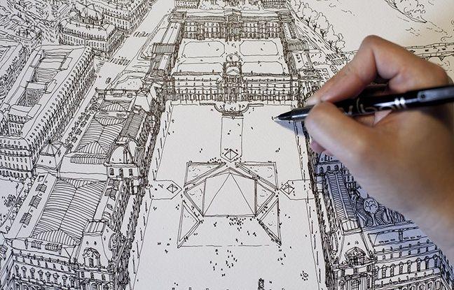 Après Lyon, Emilie Ettori dessine également des quartiers de Paris vus du ciel.