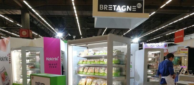 Le stand de Kokiriki au Salon international de l'alimentation 2018 où la société a dévoilé en avant-première ses charcuteries végétales.