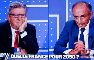 Débat entre Jean-Luc Mélenchon et Eric Zemmour diffué en direct surla chaine de BFMTV, le 23 septembre 2021.