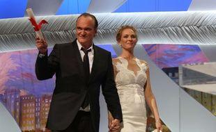 Quentin Tarantino et Uma Thurman au Festival de Cannes 2014.