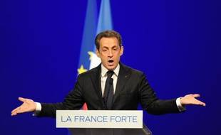 Nicolas Sarkozy lors de son discours àToulouse, le 29 avril 2012.