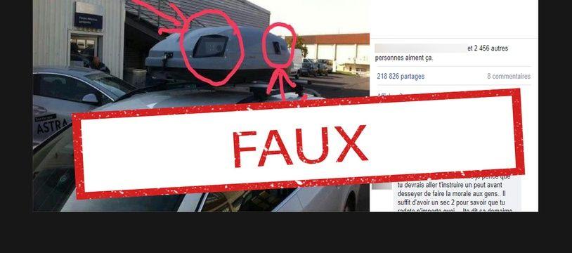 Le dispositif dans le toit sert à scanner les plaques d'immatriculation dans un canton suisse, il ne montre pas un radar en France.