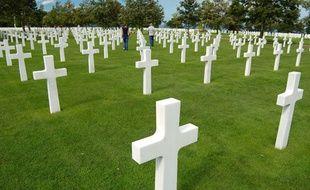 Dans le cimetière américain de Colleville-sur-Mer où reposent les soldats américain tombés en 1944 lors du Débarquement sur les plages de Normandie.