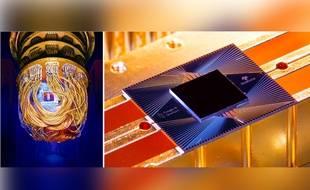 Le processeur quantique Sycamore de Google (à droite) et dans son cryostat (gauche).