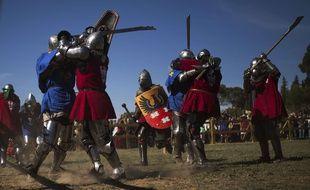 Illustration d'un combat médiéval.