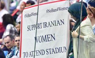 Une banderole déployée par des Iraniennes lors du Mondial 2018 en Russie.