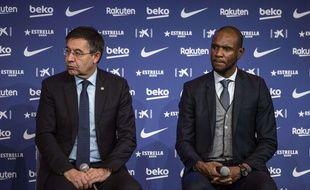 Le président du Barça Josep Bartomeu et le secrétaire technique du club, Eric Abidal.