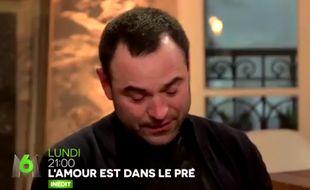 Sébastien lors de l'émission L'Amour est dans le Pré diffusée sur M6 (capture d'écran).