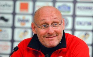 L'entraîneur du RC Toulon Bernard Laporte en conférence de presse.