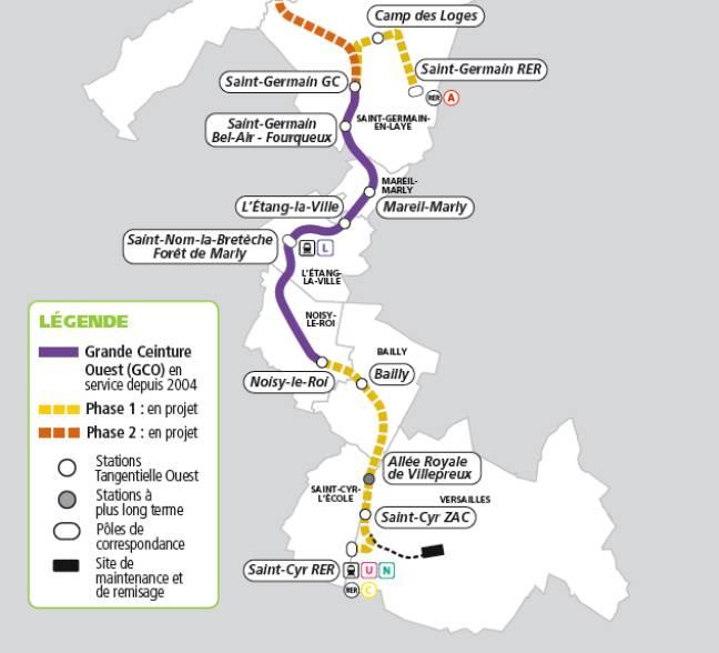 Les différentes phases de création de la ligne de Tangentielle Ouest ou Tram 13 Express (Illustration).
