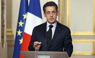 """Nicolas Sarkozy, le 18 janvier à l'Elysée à l'issue du """"sommet sur la crise""""."""