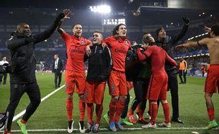 La joie des Parisiens au coup de sifflet final scellant leur qualification sur la pelouse de Chelsea (2-2 ap), le 11 mars 2015.