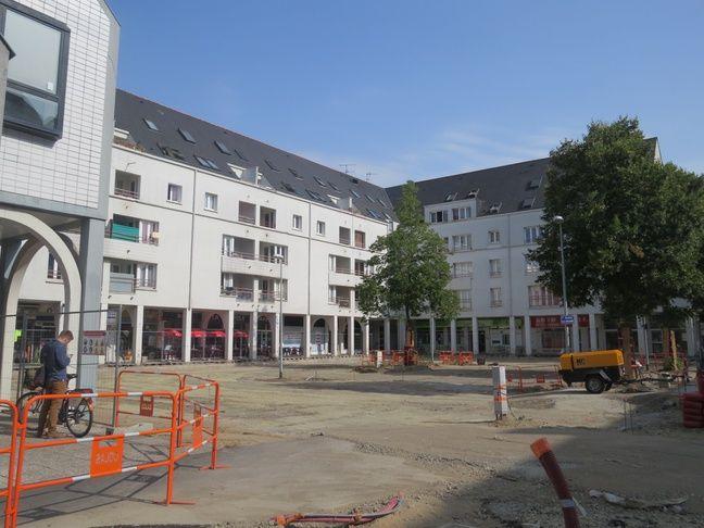 Les travaux sont en cours place de la Galarne à Nantes