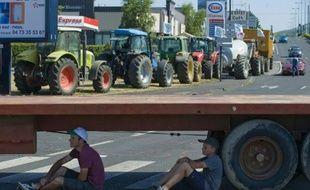Un point de blocage par les éleveurs le 23 juillet 2015 à Clermont-Ferrand