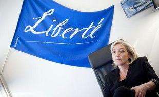Le 28 mars 2012. Marine Le Pen, candidate du Front National a la presidentielle, en itw pour 20 Minutes dans son qg de campagne situe au 64 bd Malesherbes a Paris.