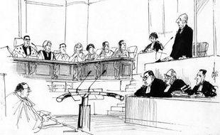 Croquis d'audience du procès de Maurice Papon, jugé pour crimes contre l'humanité, le 01 avril à la Cour d'Assises de Gironde