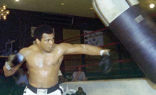 Mohamed Ali en 1976 à l'entraînement avant son combat contre Jimmy Young.