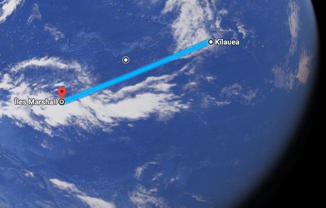 Les îles Marshall sont situées à 3.700 km du volcan.