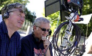 Benoît Delépine et Christian «Moustic» Borde sur le tournage de «Groland, le gros métrage»