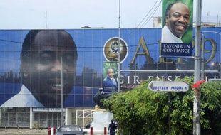 Affiche géante d'Ali Bongo, candidat aux élections présidentielles du Gabon qui ont lieu le 30 août 2009.