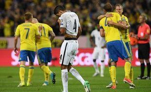 Raphaël Varane et l'équipe de France n'ont pas été à la hauteur en Suède en qualification pour le Mondial 2018, le 9 juin 2017 à Solna.