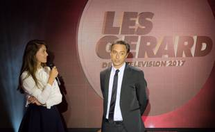 Ophélie Meunier et Jérôme de Verdière sur la scène des Gérard de la télé, le 5 juin 2017.