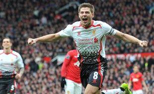 Steven Gerrard, le capitaine de Liverpool, le 16 mars 2014, à Manchester United.