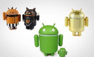Des mascottes Google d'Android.