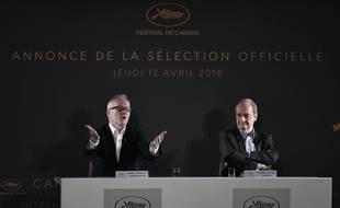 Thierry Frémaux et Pierre Lescure dévoile la Sélection officielle de Cannes 2018, le 12 avril 2018.