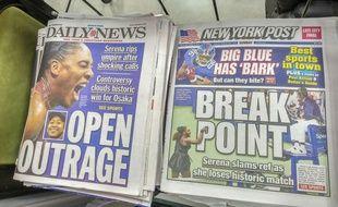 Les Unes du New York Post et du New York Daily News, dimanche 9 septembre 2018, au lendemain de la finale houleuse de l'US Open.