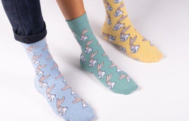 Les trois couleurs de chaussettes Serge le lapin de la RATP.