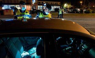 Un contrôle de gendarmerie à Cugnaux près de Toulouse, dans la nuit du 17 au 18 octobre 2020.