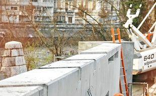 Le chantier, pont de la Porte de France.