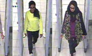Images de vidéosurveillance du 23 février 2015 fournie à la police montrant les trois lycéennes (de g à d) Kadiza Sultana, Amira Abase et Shamima Begum aux contrôles de sécurité à l'aéroport de Gatwick près de Londres